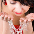 Pretty woman refreshing the face - Stock Photo
