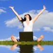 Pretty woman with laptop on the green grass — Stock Photo