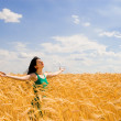 Happy woman in golden wheat — Stock Photo #9251264