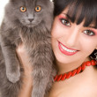 Portrait of fashion woman with cat — Stock Photo
