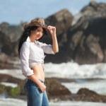 Fashion woman on the beach — Stock Photo #9252167