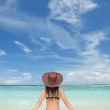 Young fashion woman on the beach — Stock Photo #9252175