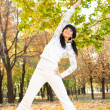 Pretty woman doing yoga exercises in the autumn park — Stok fotoğraf