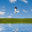 Happy young woman is jumping — Stock Photo #9253485