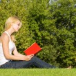 Young blonde reads book in the park - Stock Photo