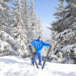 Stock Photo: Happy man with ski in the winter landscape