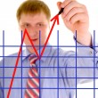 Businessman is drawing a arrow of success — Stock Photo #9255806