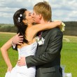 Just married happy couple — Stock Photo