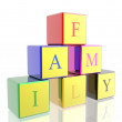 Word &quot;family&quot; built from cubes - Stock Photo
