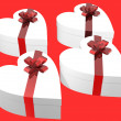 Gift box in heart shape series - Stock Photo