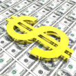 Dollar symbol in money background - Stock Photo