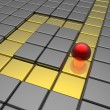Stock Photo: Red sphere in labyrinth