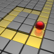 Red sphere in labyrinth — Stock Photo