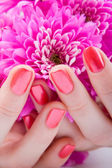 Care for beautiful woman hands — Stock Photo