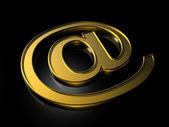 Golden e-mail symbol — Stock Photo