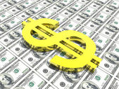Dollar symbol in money background — Stock Photo