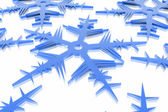 Christmas snowflake in ice background — Stock Photo