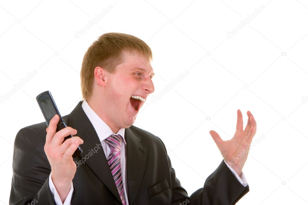 Happy businessman is pleased to a victory isolated over white background — Stock Photo #9255772