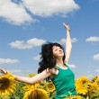Fun woman in the field of sunflowers — Stock Photo #9426515
