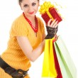 Fun santa woman with christmas gifts — Stock Photo