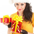 Fun santa woman with christmas gifts — Stock Photo #9427253