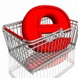 E-commerce sign in basket - Stock Photo