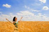 Pretty woman in golden wheat — Stock Photo
