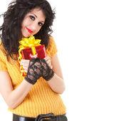 好玩的礼品的女人 — 图库照片