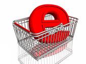 E-handel tecken i korg — Stockfoto