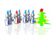Business team and christmass tree — Stock Photo