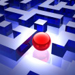 Red sphere in labyrinth — Stock Photo #9430066