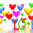 Valentine card with color hearts background — Stockfoto