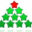 Christmas tree from stars - Stock Photo