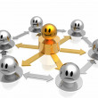 Business organization structure with golden chief — Stock Photo