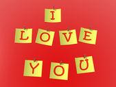 """碑文と赤の背景に固定された黄色い紙""""私は愛します。 — ストック写真"""