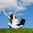 Pretty woman with laptop on the green grass — Stock Photo #9756777