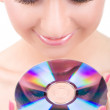 Young beautiful girl with disk — Stock Photo #9757230