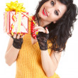 Fun woman with christmas gift — Stock Photo