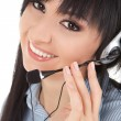 Business woman-operator in earphones — 图库照片