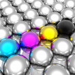 Stock Photo: CMYK spheres
