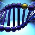 Golden gene in DNA — Stock Photo