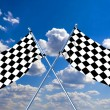 Waving a checkered flag on sky background — Stock Photo #9759387