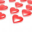Red hearts isolated in white background — Stock Photo
