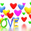 Color hearts background - Stock Photo