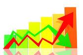 Diagram of business success with arrow — ストック写真