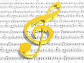 Treble clef on sheet of printed music — Stock Photo