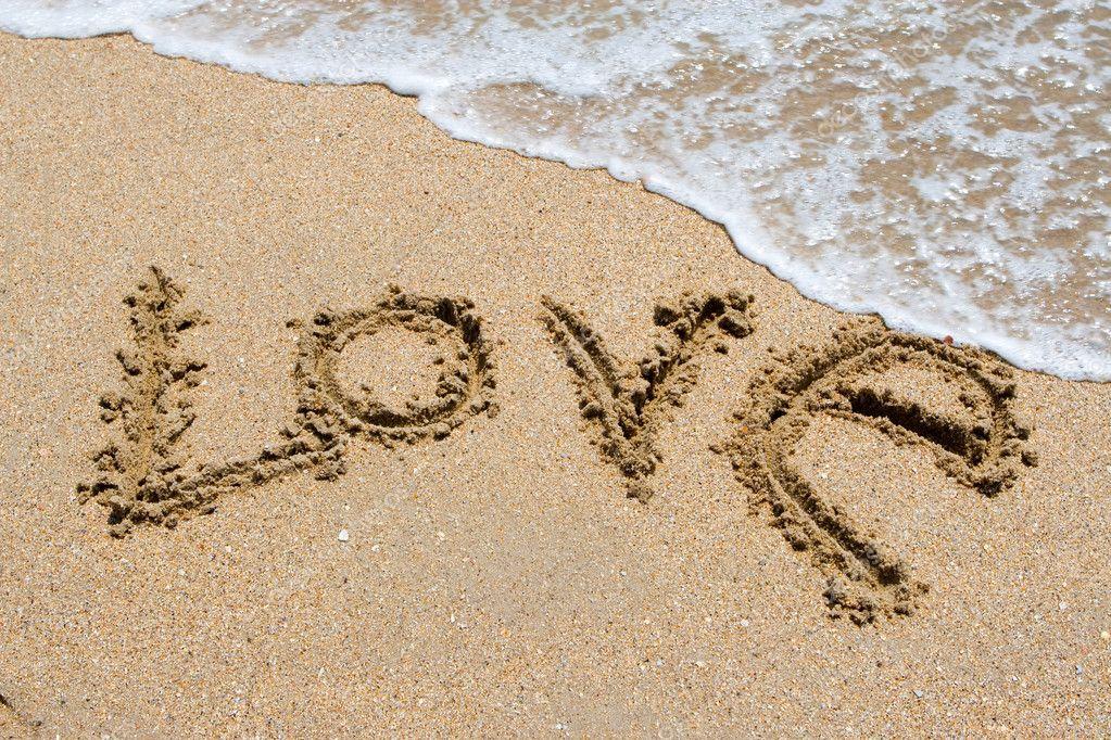 Te Amo Escrito En La Arena Imagen De Archivo Imagen De: Te Amo Escrito En La Playa De Arena
