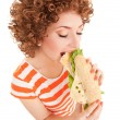 Fun woman with sandwich on the white background — Stock Photo #9864681
