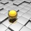 Golden sphere in the labyrinth — Stock Photo