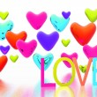 Valentine card with color hearts background — 图库照片 #9867812